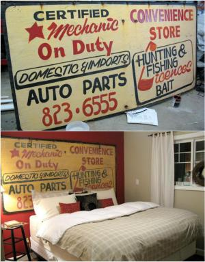 recycled vintage sign into headboard