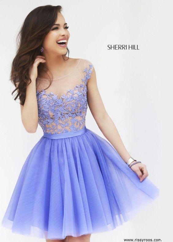 Elegant Periwinkle Embroidered Short Dress