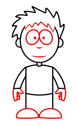 boy draw cartoon drawing simple cartoons drawings easy funny step sketch tutorial boys hair face cool wwn hands shoes eyes