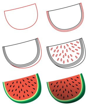 draw cartoon drawing easy drawings watermelon step simple sketches funny cartoons drawn goodies juicy sushi exotic