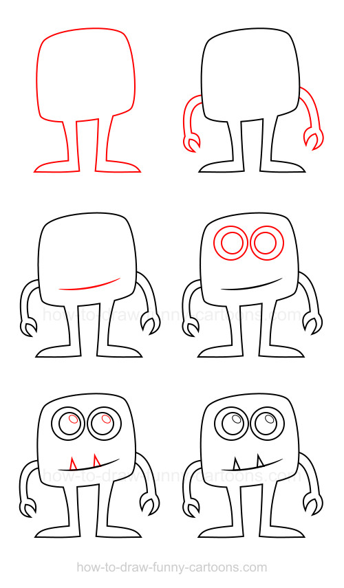 Simple Monster Drawing : simple, monster, drawing, Cartoon, Characters