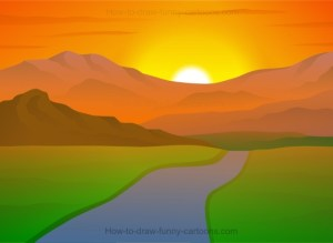 landscape draw drawing sunset simple step cartoons funny