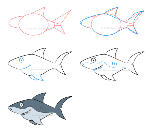 shark draw drawing drawings simple angry funny mad cartoon expressions character learn siterubix ilovedrawing