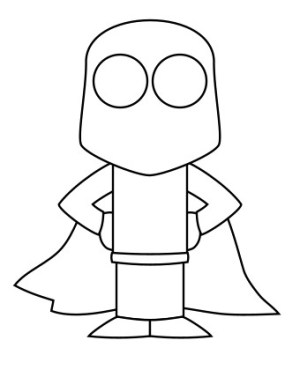 drawing superhero draw step simple character vector sketching funny using lines shape cartoons