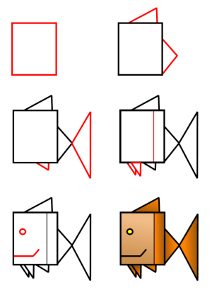 animals shapes draw drawing using fish different same result installer max
