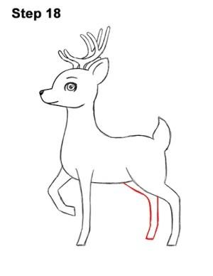 deer draw cartoon step drawing antlers leg hind way same template curved