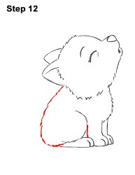 wolf draw cartoon pup howling step drawing easy cub head animals little steps base body thick middle curved broken left