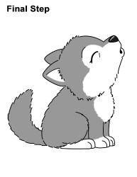 wolf draw cartoon cute pup drawings howling drawing step easy cub wolfs kawaii husky animals baby gray bat coloring pages