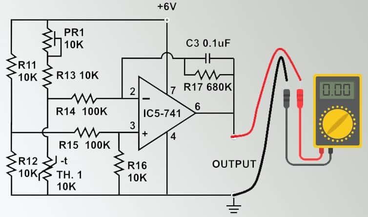 Temperature To Voltage Converter Using Thermistor Amp 741