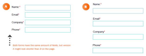 Намалете разстоянията между полетата в онлайн формата