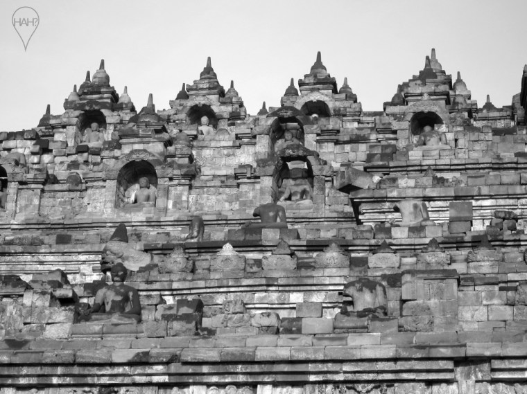 Borobudur is made of a volcanic stone called andesite.