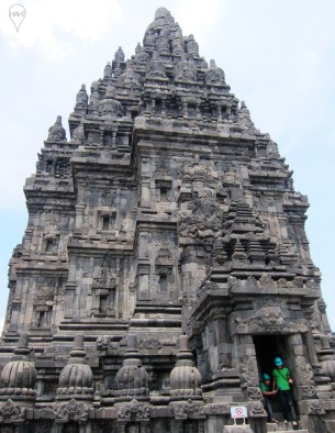 Visitors to Prambanan are required to wear hard hats for some structures as a safety precaution.