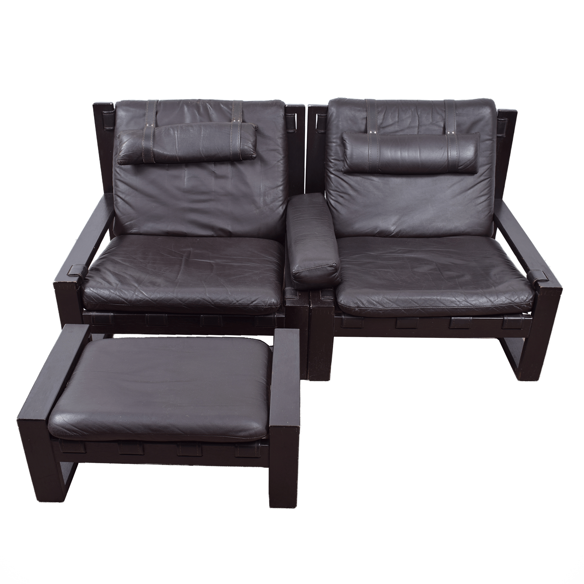 Leather Chairs With Ottoman Brutalist Lounge Chairs With Ottoman By Sonja Wasseur Set