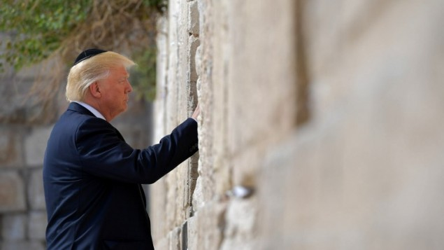 Donald Trump, The First US President In Office Before The Wailing Wall