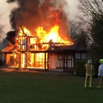 The sport pavilion at Ashes Playing Field on fire in Howden on the evening of Monday April 6 2015.