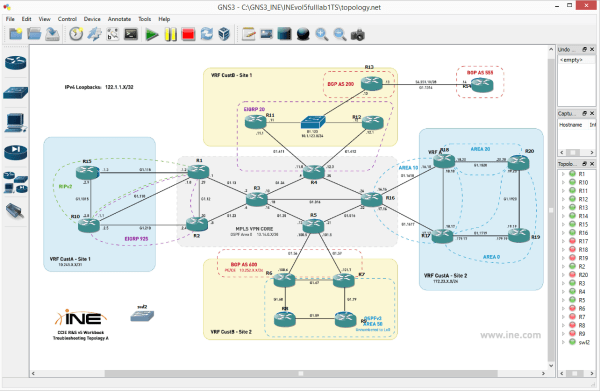 INE v5 Full-Scale Practice Lab1 TS GNS3 topology