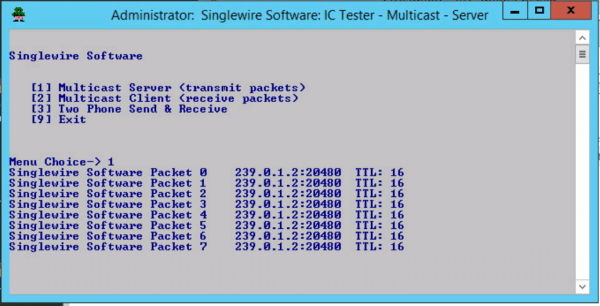 Multicast Stream test Singlewire App Server