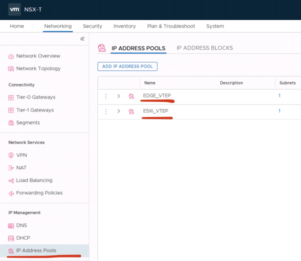 VMware NSX-T VTEP pools