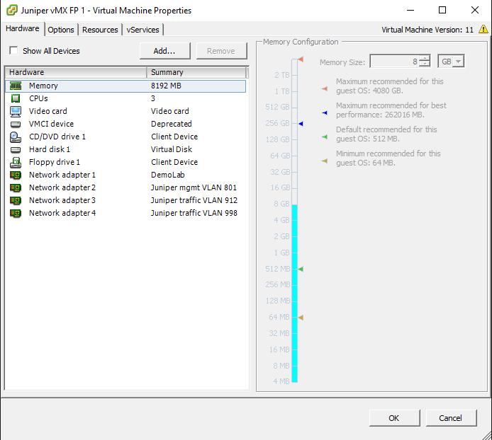 Juniper vMX Lab Setup on VMware