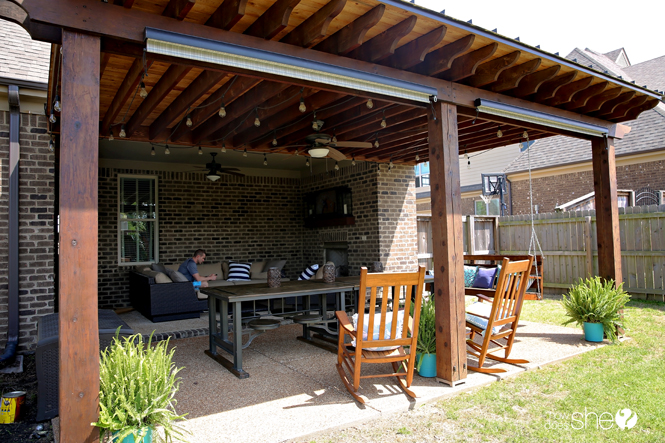 back patio covering and porch swing