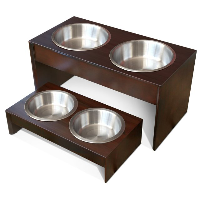 Elevated Pet Feeder in Solid Wood