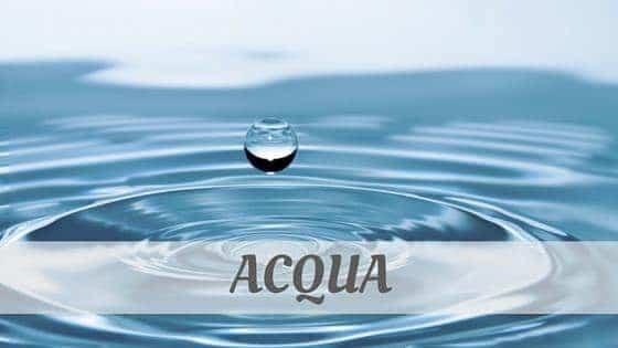 How To Say Acqua