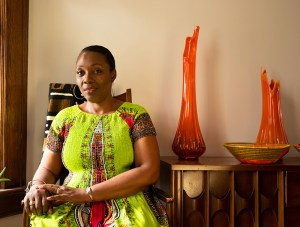 Portrait of Stacey Salimah-Bell at home