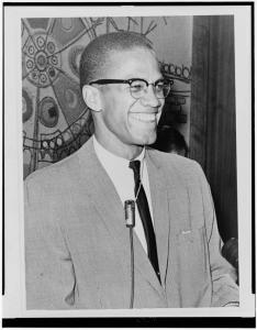Black and white photographic print of Malcolm X, 1964