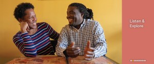 Listen and explore the Oral History Clips, a picture of two friends laughing at a table.