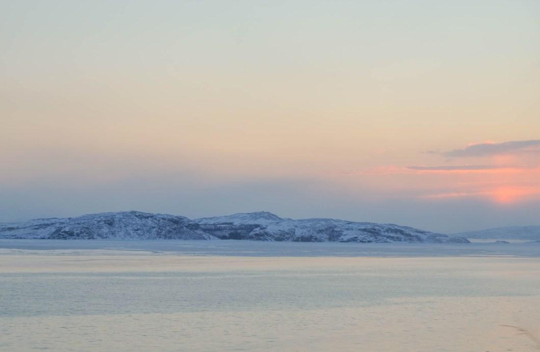Sunrise in the cold Arctic