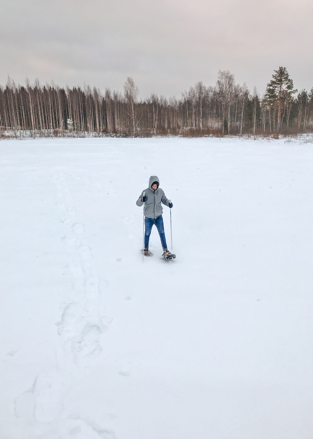 Snowshoeing in cold Finland