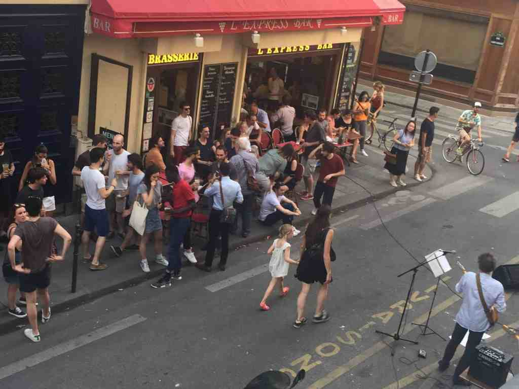 Paris corner people socializing