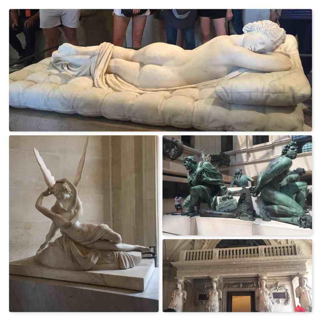 Paris - Louvre - Hermaphroditus, Psyche, Cupid, Four Captives, Salle des Caryatides