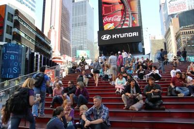 Czerwone schody na Times Square – fajrant