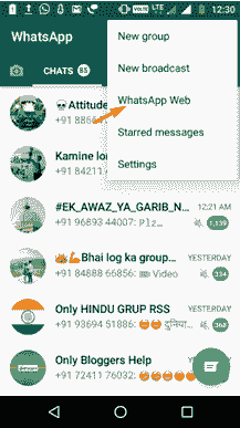 whatsapp web options computer