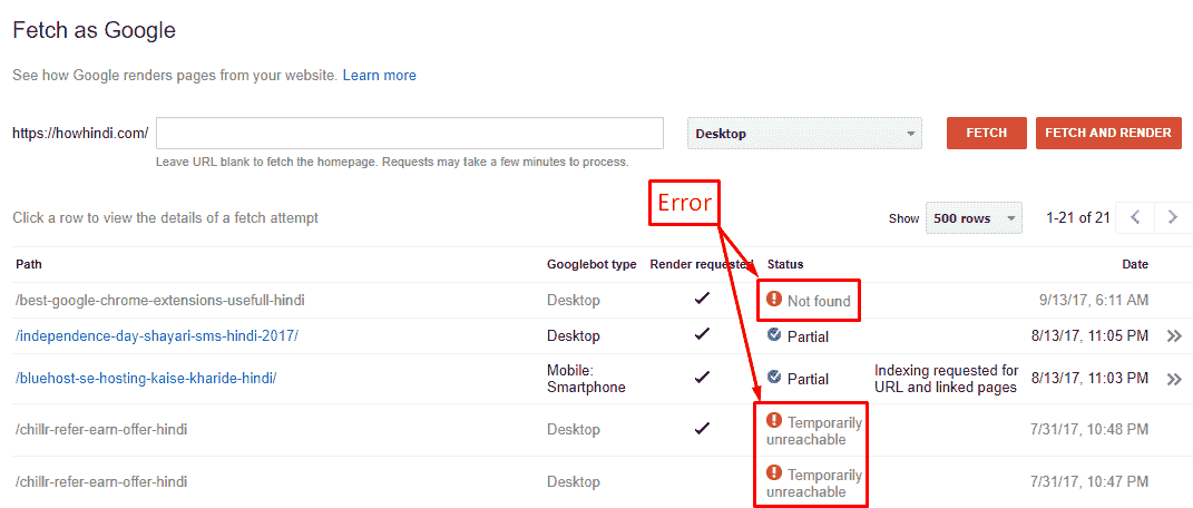 Fetch as Google Error on webmaster tools hindi