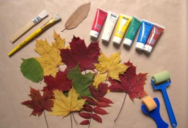 Matériel papier cadeau DIY tampon feuille automne
