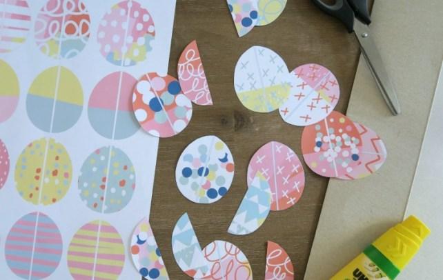 chasse aux  œufs à imprimer découpage jeu association enfant