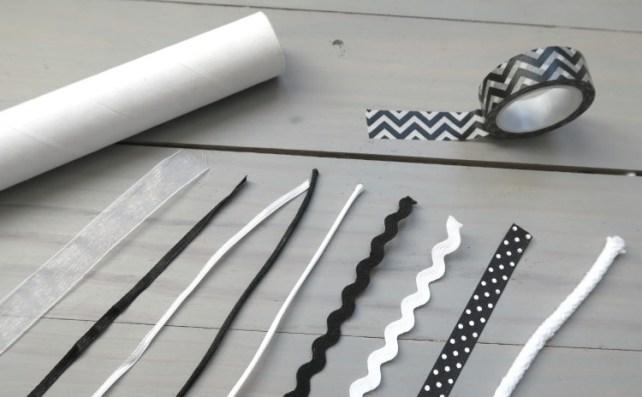matériel pour fabriquer mobile rubans noir et blanc Montessori