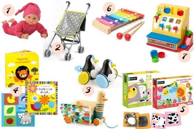 wishlist jouets 1an de bébé livres Nathan poupée poussette minikane jeux à tirer djeco