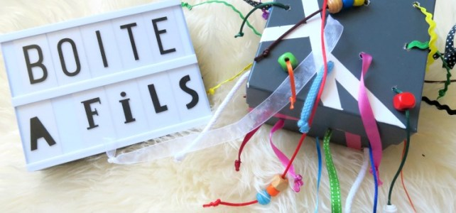 jeu pour bébé à fabriquer boite à fils et rubans à tirer 12-18 mois