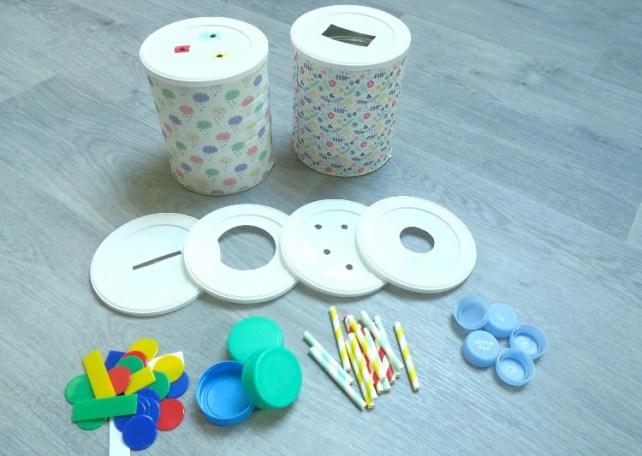 Boites de lait tirelire jouets à fabriquer pour bébé bouchons pailles jetons