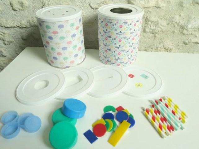 jeu à fabriquer bébé 12-18 mois boite à forme en boite de lait