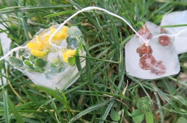 Guirlande de glacons et de fleurs activite enfant hiver