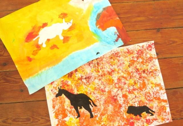 activité enfant dessiner animaux avec ombre du soleil