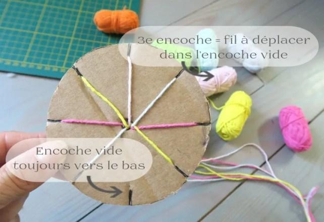 Procédure étapes pour fabriquer bracelet brésilien avec gabarit en carton
