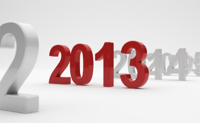 3d illustration of 2013 year on white background. Soft focus