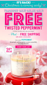 Free Twisted Peppermint Candle: 26 October 2017 Only   How I Save Money.net