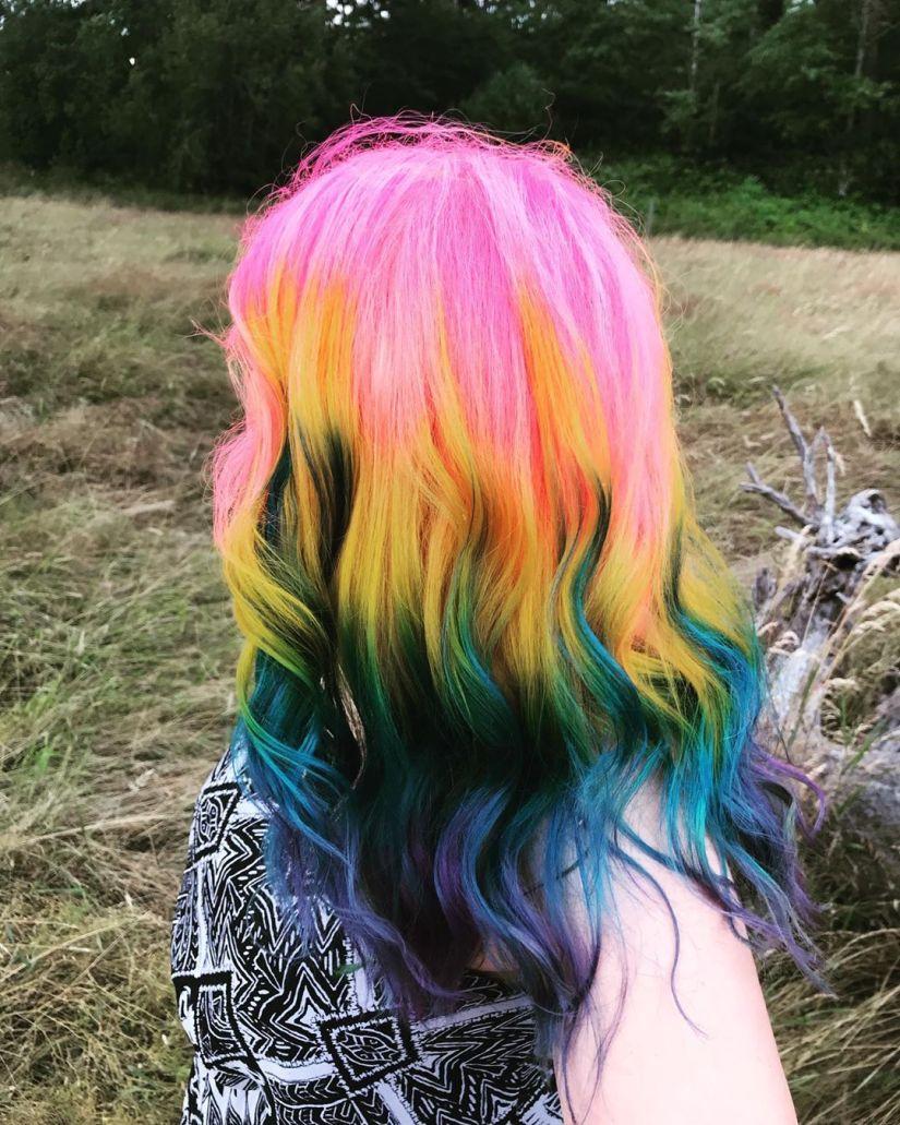Rainbow Hair 03 - 41 Colorful Rainbow Hair Ideas In 2019
