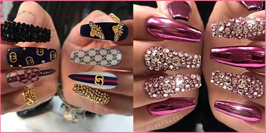 rhinestones coffin nails designs 20190922 - 130+ Elegant Rhinestones Coffin Nails Designs